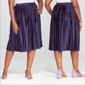 Ava & Viv Purple Charm pleated midi skirt
